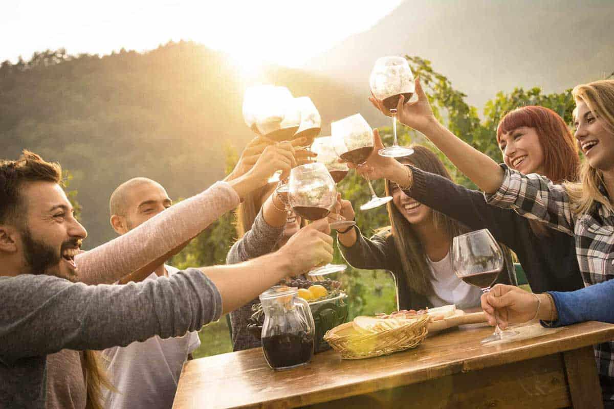 Sharing Wine at Villa Bellezza
